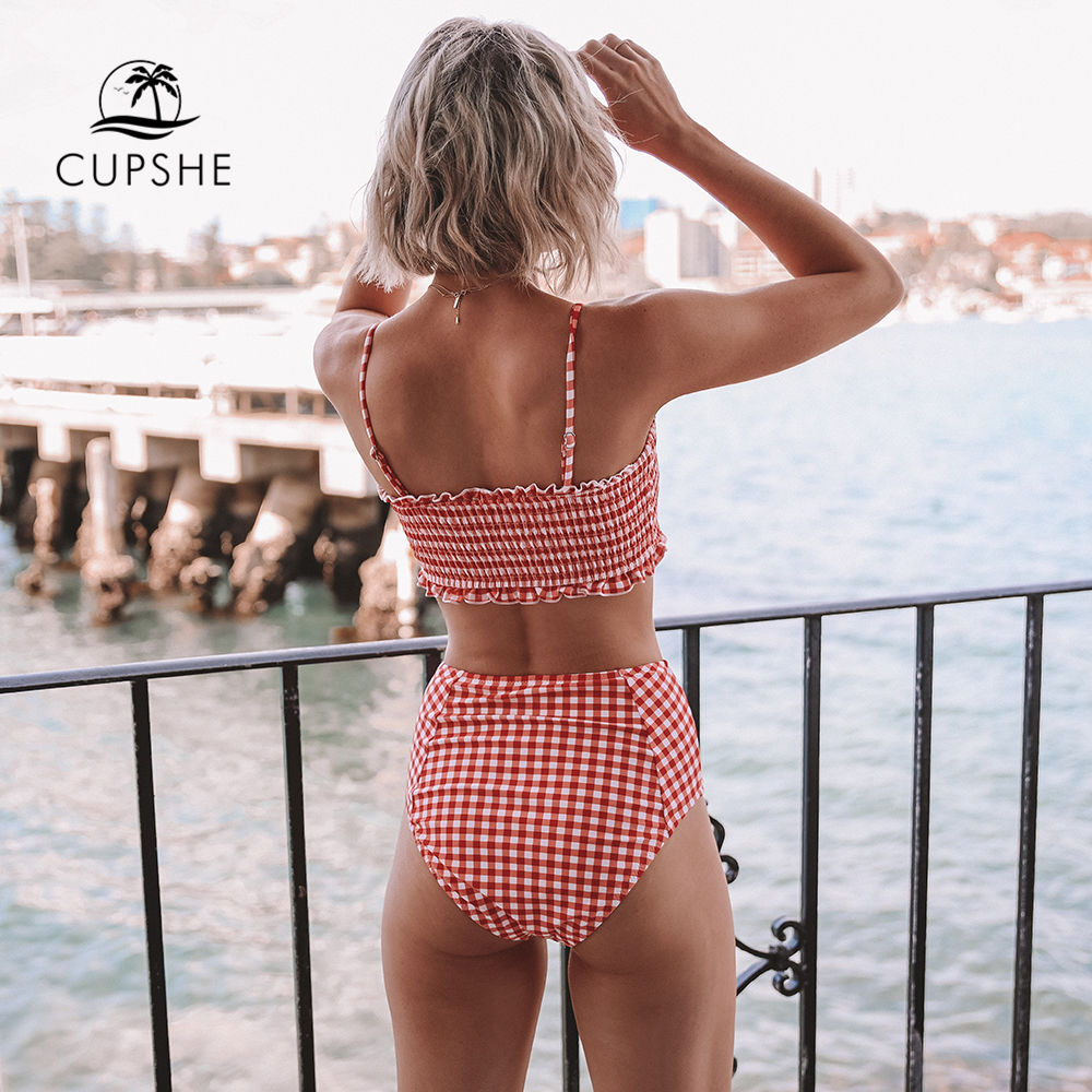 CUPSHE Sexy Red Gingham Smocked Bandeau Bikini Sets Women Cute High Waist Two Pieces Swimsuits 2020 Girl Beach Bathing Suits 2