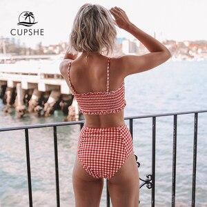 Image 3 - CUPSHE Seksi Kırmızı Pötiko Smocked Bandeau Bikini Setleri Kadınlar Sevimli Yüksek Bel İki Adet Mayolar 2019 Kız Plaj Mayo