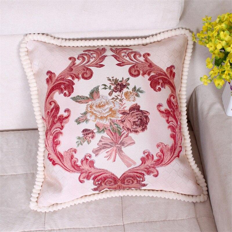 48*48cm European Style Embroidery Flowers Pillowcase Cushion Cover Office Car Sofa Chair Seat Home Decoration