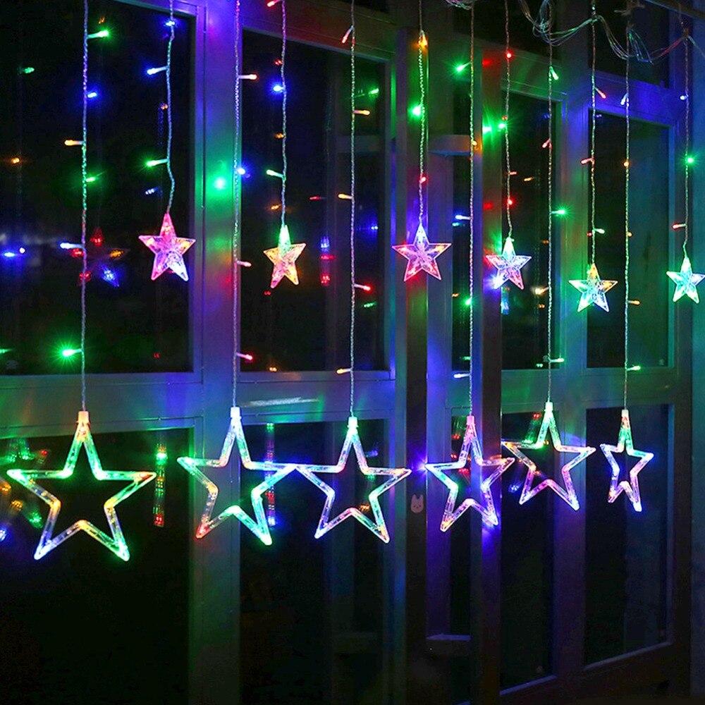 Festive & Party Supplies Christmas Wedding Decoration Romantic Curtain Star String Garland Fairy Light Ball Bulbs For Holiday Party Garden 110v 220v
