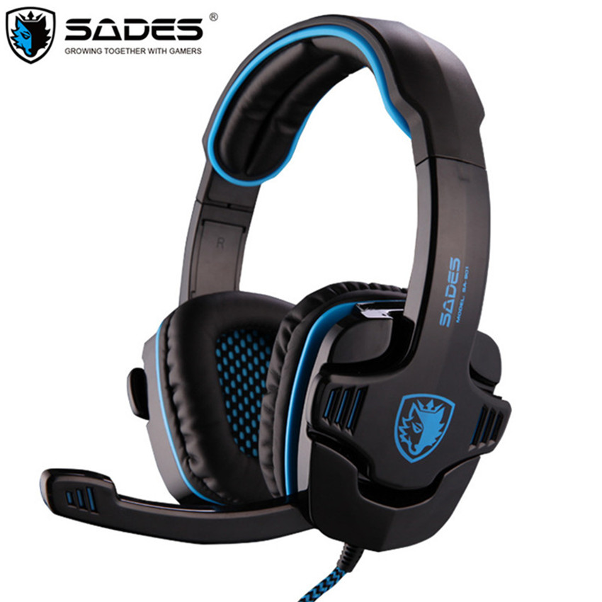 SADES SA-901 Computer Gaming Headphones USB 7.1 Surround Stereo Game Earphone Deep Bass Headset with Microphone Mic for PC Gamer rock y10 stereo headphone microphone stereo bass wired earphone headset for computer game with mic
