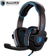Cheapest SADES SA-901 Computer Gaming Headphones USB 7.1 Surround Stereo Game Earphone Deep Bass Headset with Microphone Mic for PC Gamer
