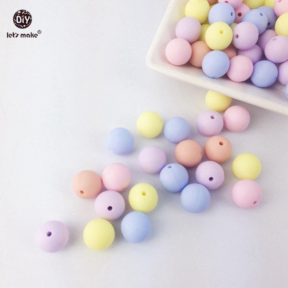 Prix pour Let's Faire perles rondes en silicone de couleur de sucrerie bébé de dentition 500 PC 12-15mm Matériaux Accessoires de Soins Infirmiers Jouets montessori perles