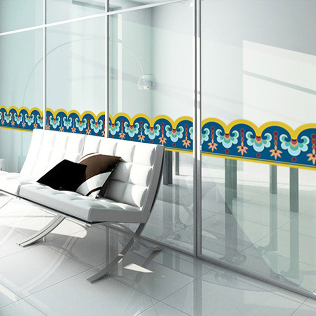 Wholesale Glass Door Stickers Baseboard Skirting Banners Anti Collision  Removable Decorative Stickers Stickers