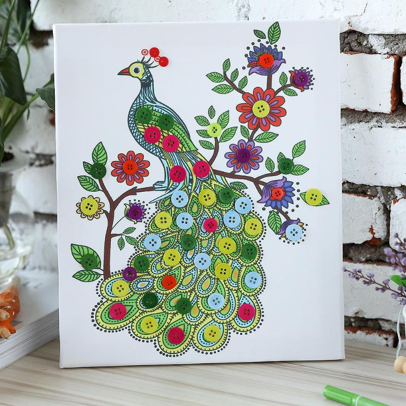 Animal Children DIY Handmade Button Painting Sticker Pictures Drawing Craft Peacock Button Painting For Kids Learning Education