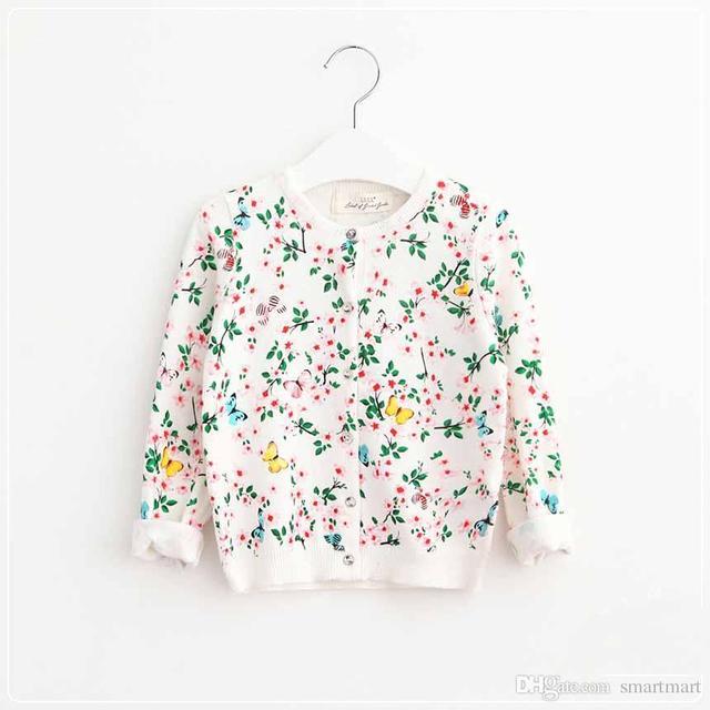 Nuevas Muchachas de Los Cabritos de Punto Cardigan Suéteres de Color Beige Estampado Floral Princesa de la Moda Otoño Invierno Outwears Chaquetas Occidental