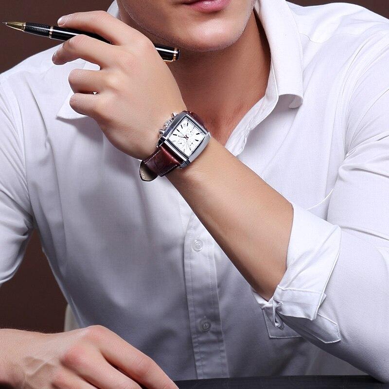 MEGIR Original Watch Men Top Brand Luxury Rectangle Quartz Military Watches Waterproof Luminous Leather Wristwatch Men Clock 5