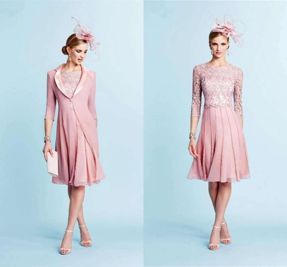 Modest pink mother of the bride dresses with long jacket for Best wedding guest dresses