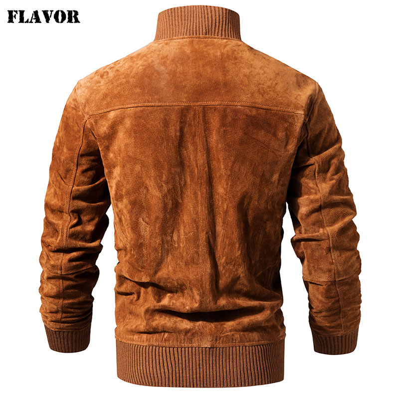 FLAVOR Men s Real Leather Jacket Men Pigskin Slim Fit Genuine Leather Coat With Rib Cuff FLAVOR Men's Real Leather Jacket Men Pigskin Slim Fit Genuine Leather Coat With Rib Cuff Standing Collar