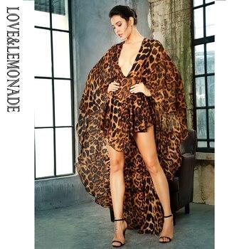 LOVE&LEMONADE  Deep V-Neck Open Back Cloak Style Leopard Chiffon Playsuit LM81381 2