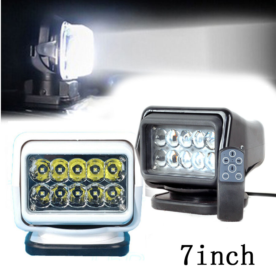 1pc 7 inch Remote control Switch searching light car spot light 50w led search light 12v for boat Auto Hunting Working Lamp gj303 rhinestones 316l stainless steel couple s ring black silver size 9 7 2 pcs
