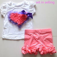 purple and red heart painting shirt-sleeved t-shirts and pink icing legging pants