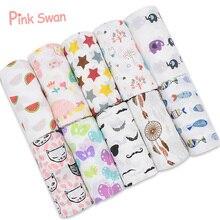 Розовый Лебедь, хлопок, муслиновые одеяла, постельные принадлежности для младенцев, Пеленальное полотенце, многофункциональные конверты для пеленки для новорожденных, одеяла для малышей