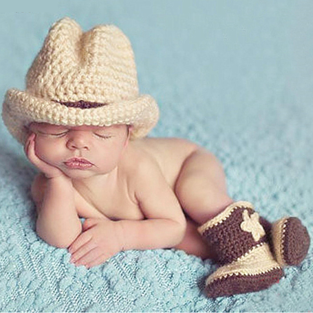 Infant baby newborn photography props hats for kids baby props cowboy crochet knit costume 1set caps