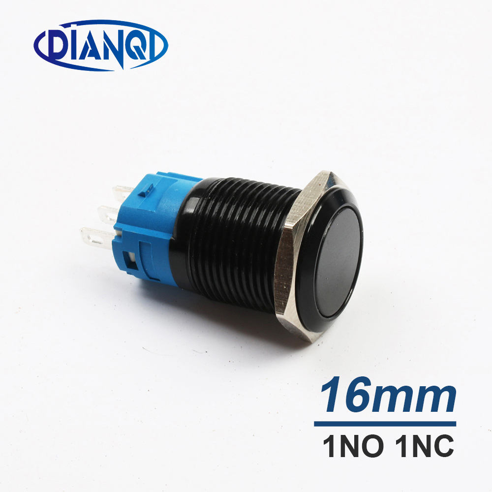 Новый Тип 16 мм кнопочный переключатель нажатие кнопки выключатели автомобильный переключатель без NC черный мгновенный ПК Блокировка