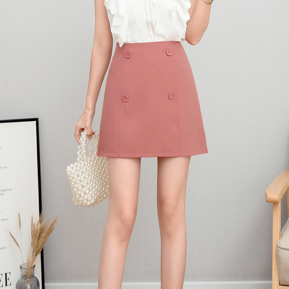 Spring Autumn Short Button High Waist Skirt Women Elegant New Formal Female Office Lady Mini Skirt Solid Colors in Skirts from Women 39 s Clothing