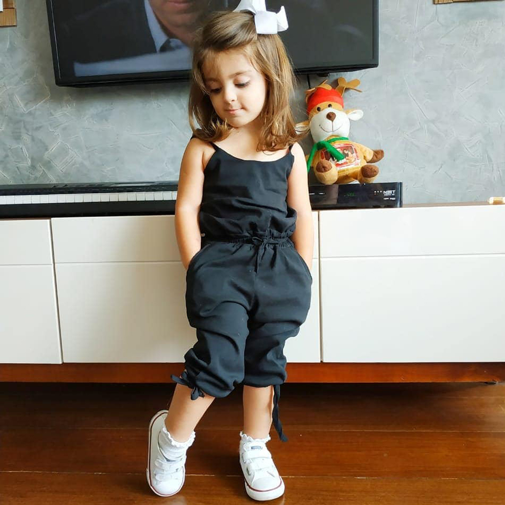 Summer Kids Toddler Baby Girl Bow Vest Romper Jumpsuit Clothes Outfits 1-6Y