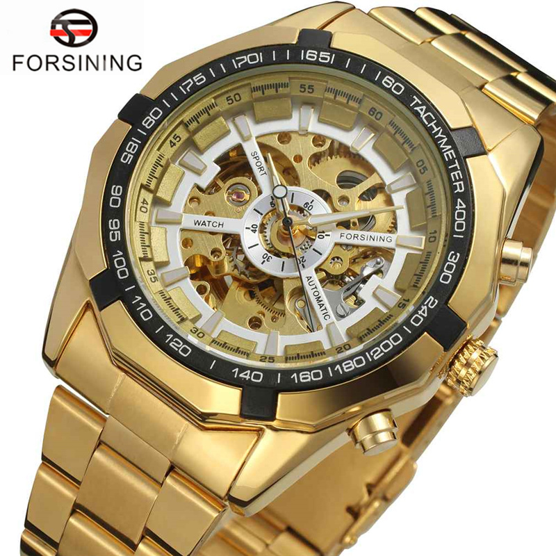 FORSINING Automatic Mechanical Watches Top Brand Luxury Golden Men Skeleton Stainless Steel Wristwatch Fashion Casual Clock Male fashion men mechanical hand wind watches men skeleton stainless steel wristwatches for male luxury golden watch men