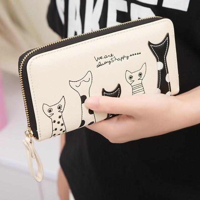 Beau 2017 New Sale Summer Cartoon Cat Fashion Women Long Zipper Wallet Cute Girl  Essential High Quality