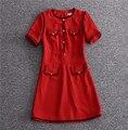 Roupas de luxo da marca da cor do contraste linha quatro bolsos o pescoço manga curta 2017 runway dress vestidos de alta qualidade das mulheres vermelho