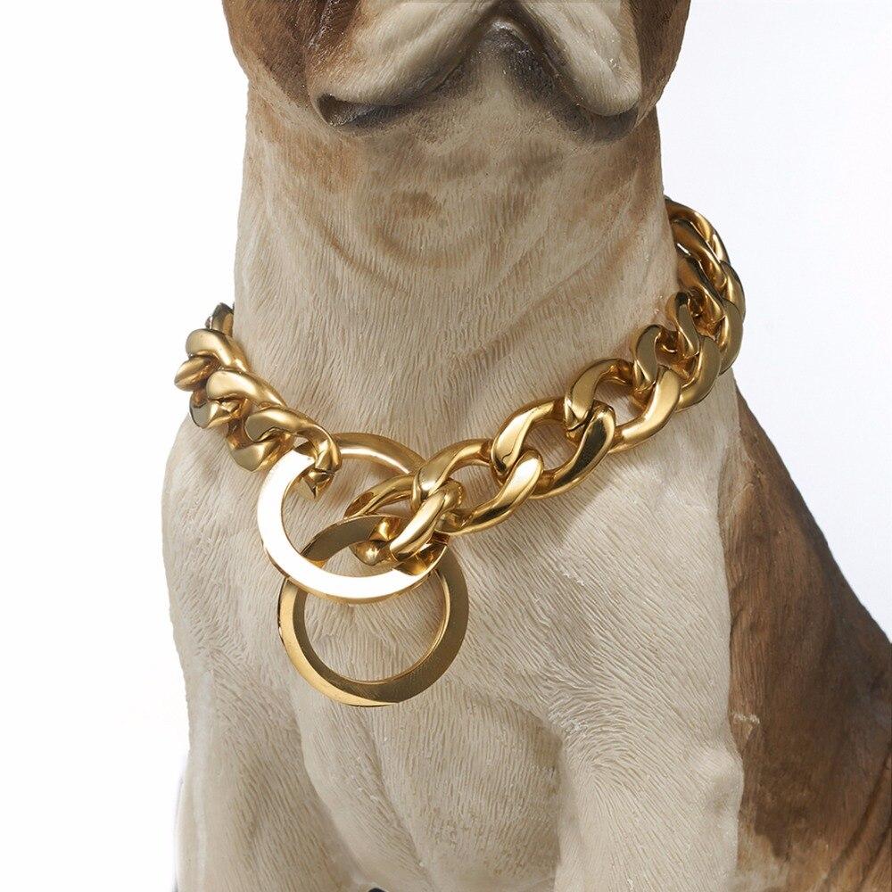 """15/19mm Breite Silber/gold Slip Hund Kragen 316l Edelstahl Hund Halskette Kette Länge 12- 32 """"für Große Hunde Bulldog Pitbull Reich Und PräChtig"""