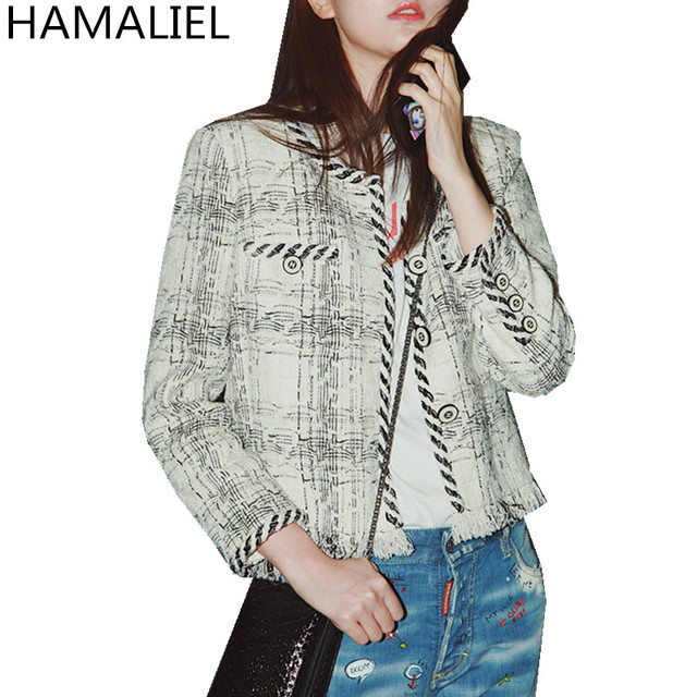 HAMALIEL Women Tweed Jacket Coat 2018 Runway Designer Autumn Winter Weave Tassel Black White Plaid Female Single Breasted Coat