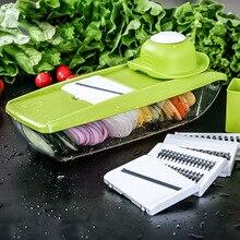 Gemüseschneider Lebensmittelbehälter Einstellbare Mandolinenschneider mit 4 Austauschbar Edelstahl Klingen Slicer Reibe