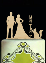 Wood Wedding Decoration Cake Toppers Love Cake Toppers For Weddings Mariage Custom Name Personalised Bride and Groom with Cats
