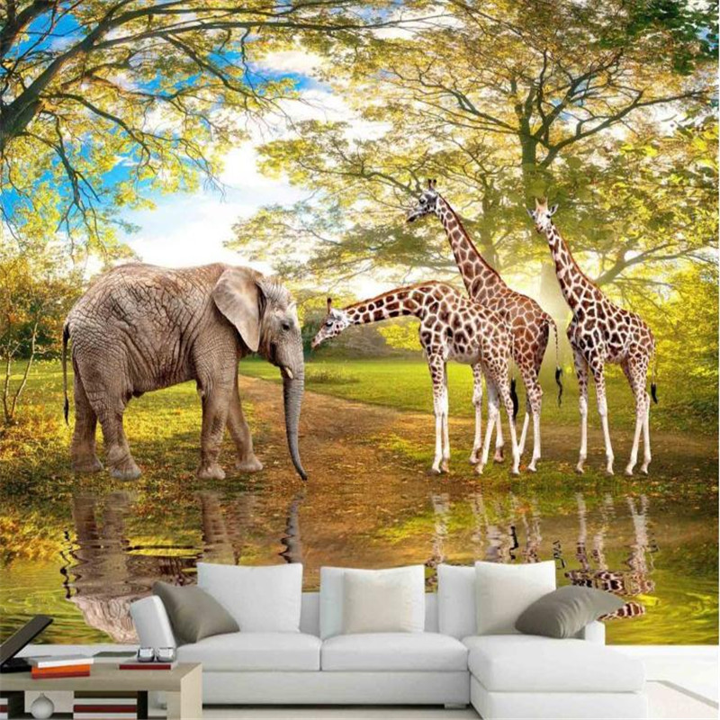 giraffe wallpaper custom 3d wallpaper decorating photo baby wall mural elephant giraffe large background wall papers home decor