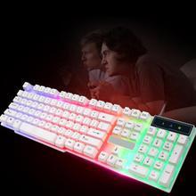 104 Keys Colorful LED Mechanical Keyboard LED Illuminated Backlit USB Wired Desktop Gaming Keyboard