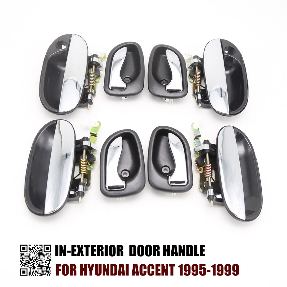 8PCS CHROME INTERIOR CHROME EXTERIOR DOOR HANDLE FOR HYUNDAI ACCENT 1995 1996 1997 1998 1999