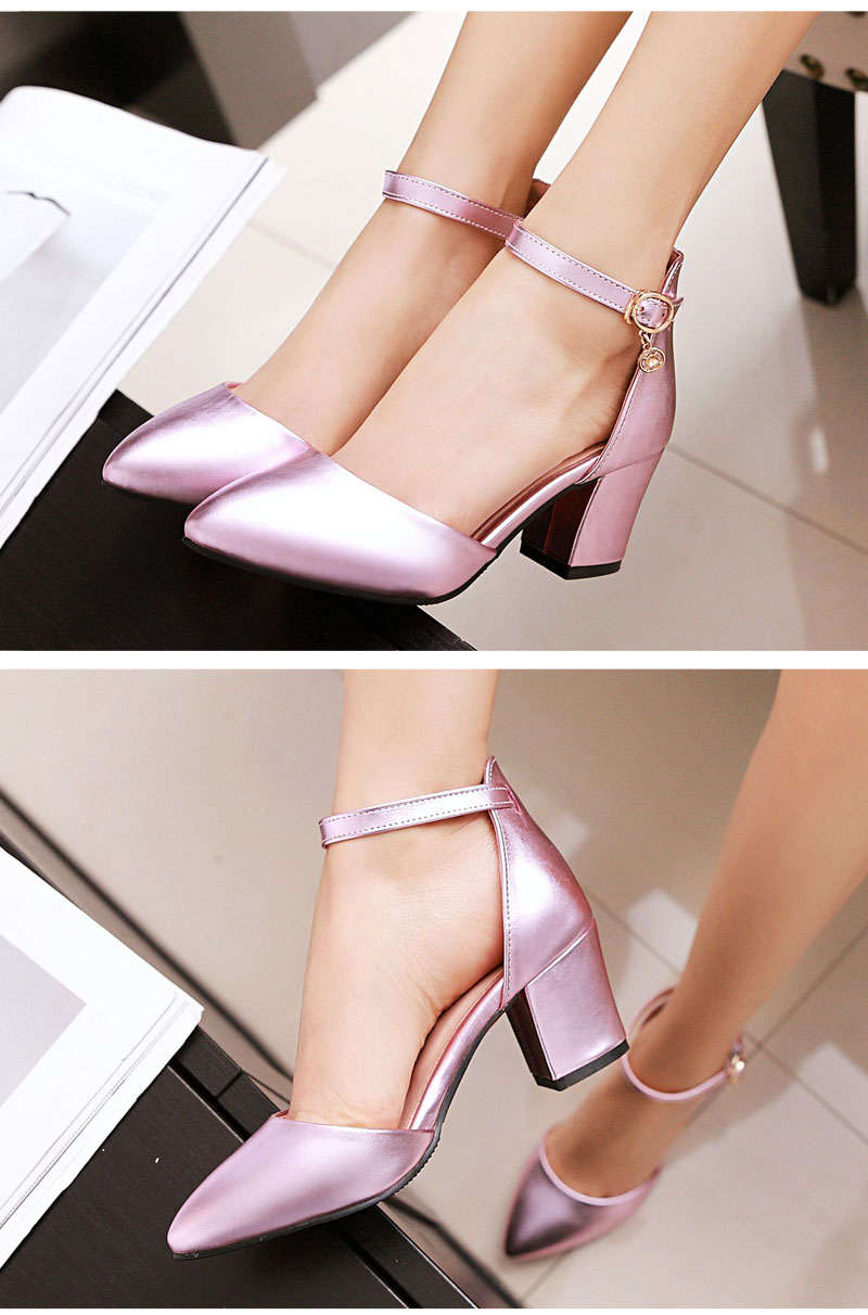 Meotina Shoes Woman 2017 New High Heels Spring Ladies Pumps Summer Two Piece Thick Heels Footwear Ankle Strap Shoes Sliver 34-43 3
