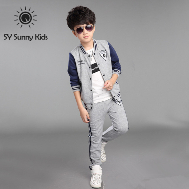 4 10 Years Old 2015 New Autumn Tracksuit Set Kids Boys
