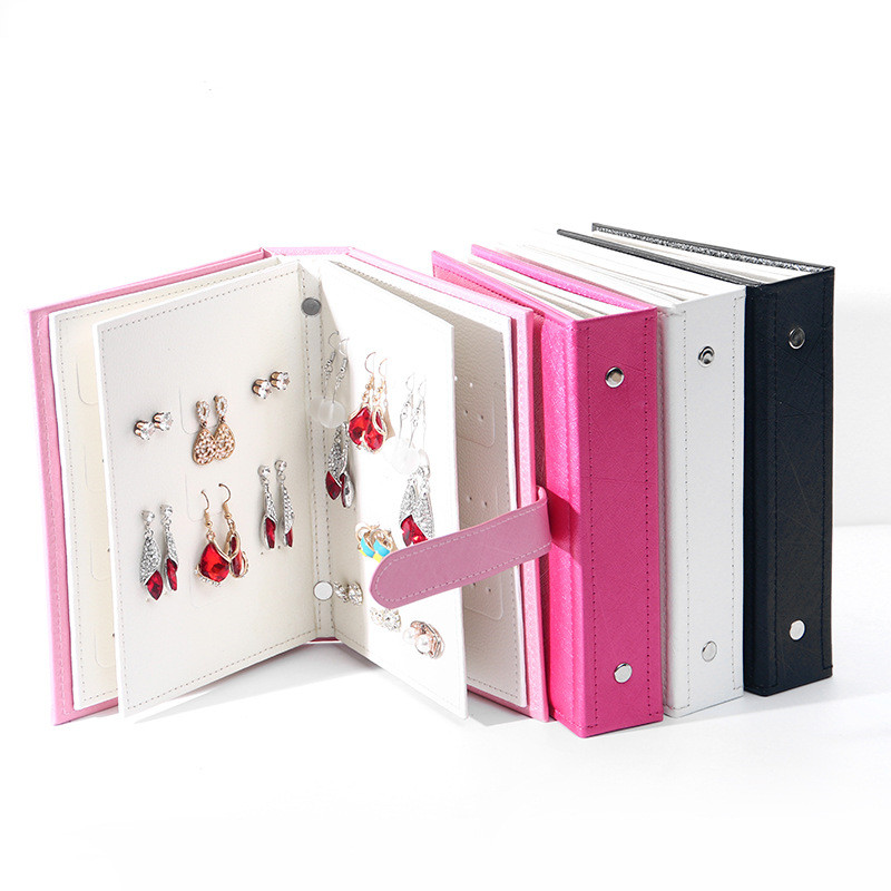 Pu Leather Stud Earrings Collection Jewelry Book Pattern Portable Jewelry Page Jewel Display Creative Jewelry Storage Box