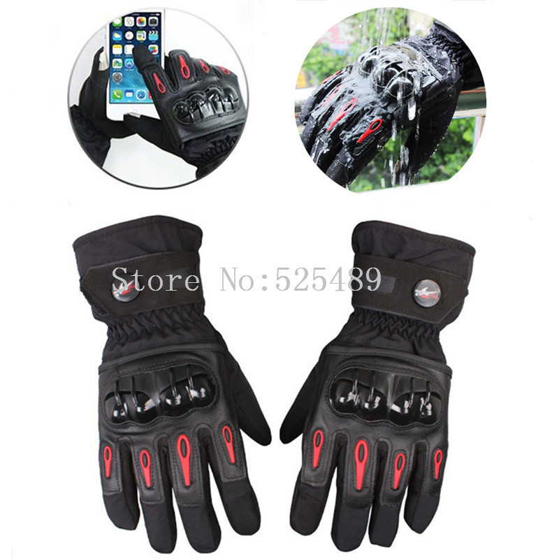 2016 Winter Waterproof Windproof Warm Touch Screen Leather Motorcycle Gloves Outdoor Motocross Off-Road Racing Protective Gloves