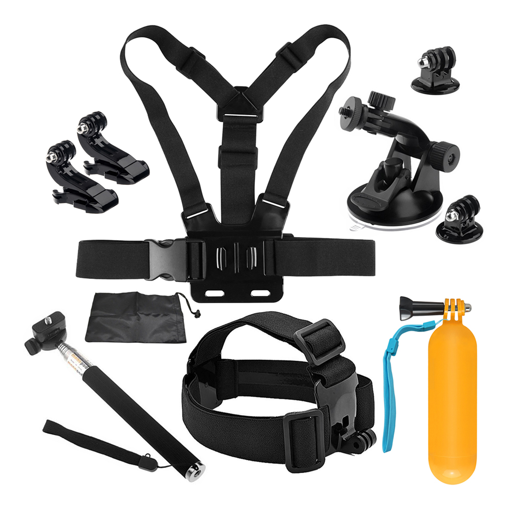 SHOOT for GoPro Hero 6 5 Accessory Set Basic Kits for Xiaomi Yi 4K SJCAM SJ4000 Eken h9 Hero 4 3 with Float Grip Adhesive mount