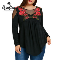 AZULINA Plus Size Women Blouse 2018 Fashion Embroidery Fishnet Insert Babydoll Ladies Tops Casual Long Blouses
