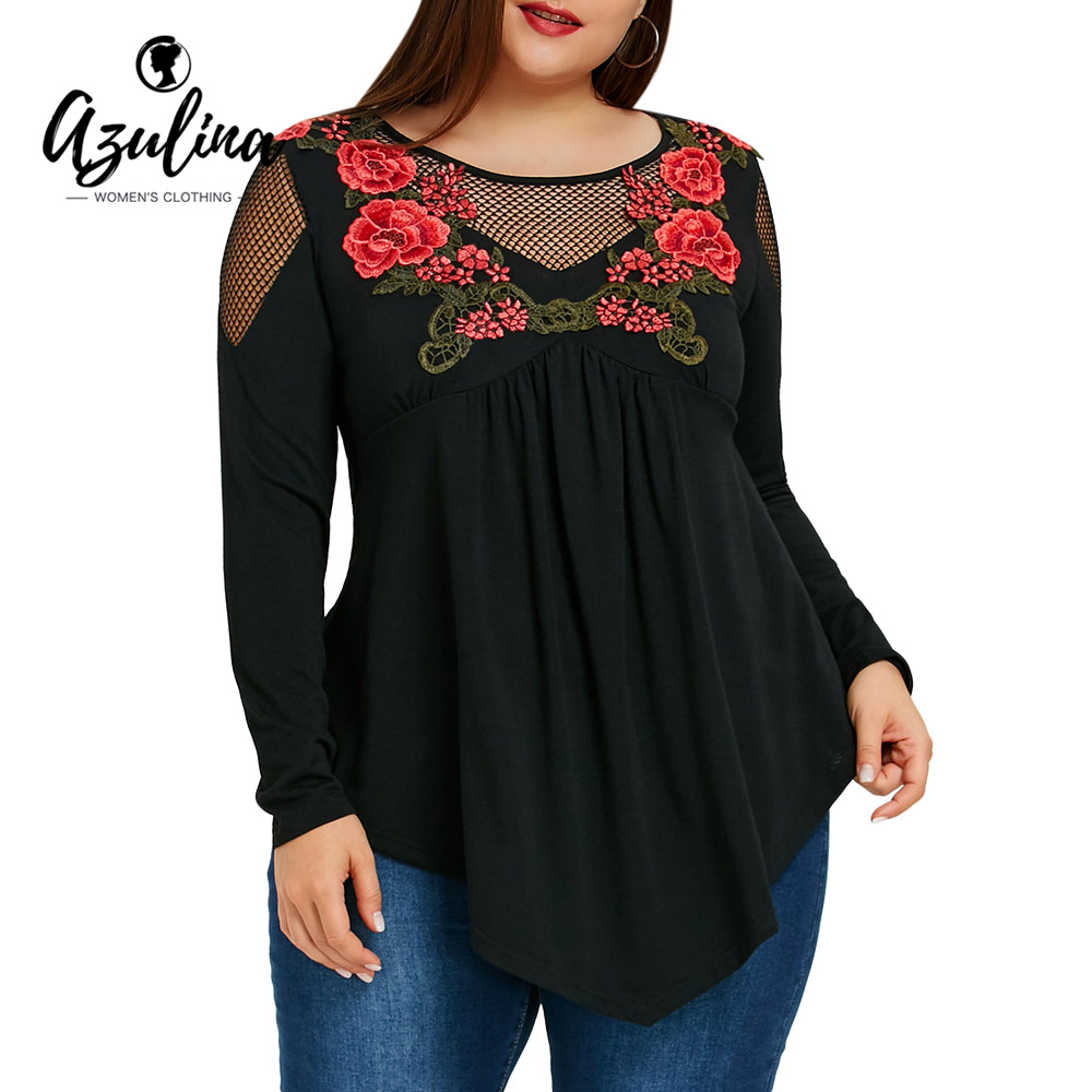 AZULINA Plus Size Women   Blouse   2019 Fashion Embroidery Fishnet Insert Babydoll Ladies Tops Casual Long   Blouses     Shirts   Blusas 5XL