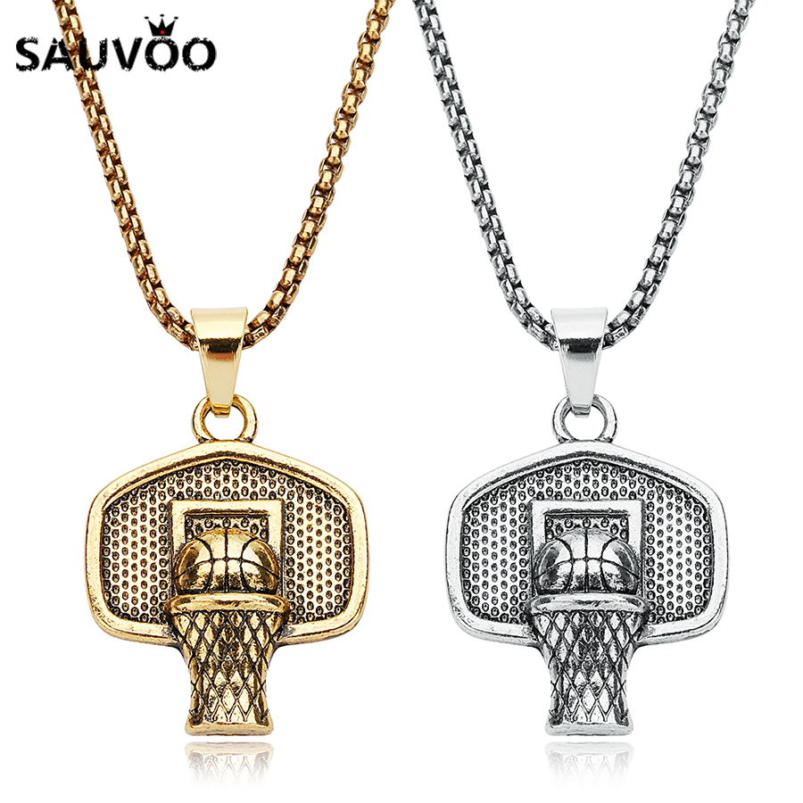 Sauvoo Long Chain Necklace Antique Gold Silver Colors Basketball Hoop Pendant Necklaces for Men Male Punk Jewelry Accessories
