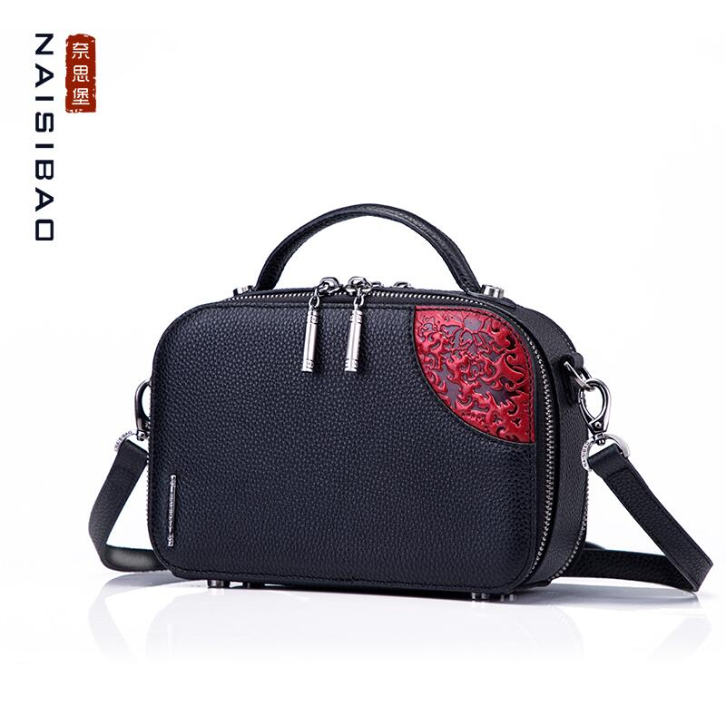 NAiSIBAO 2019 New top Cowhide women genuine Leather bag fashion Embossed bag  luxury crossbody bags women leather shoulder bag ad8014bf51cb