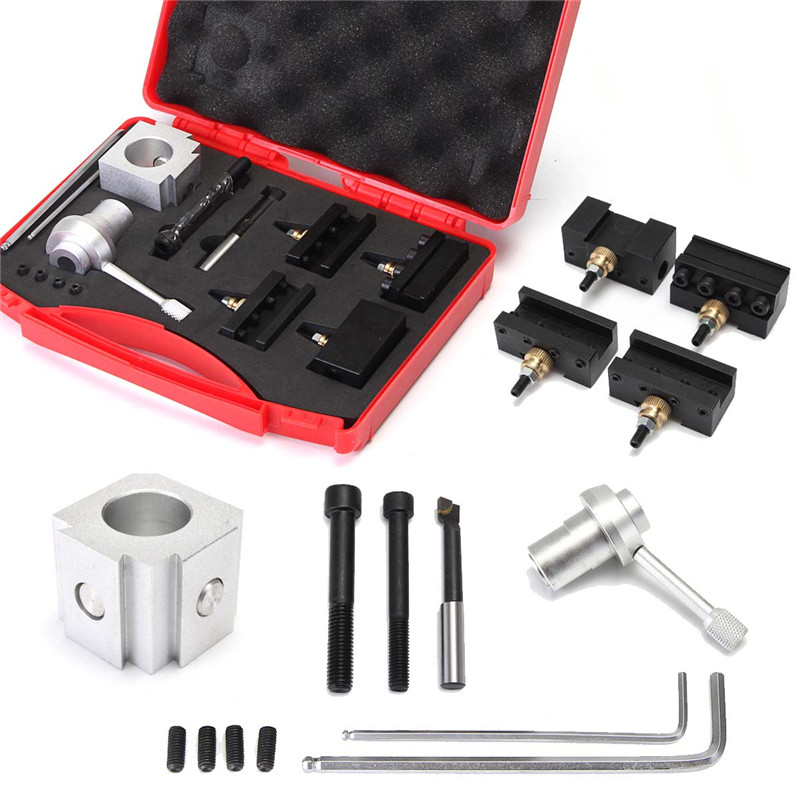 High Quality 12Pcs/Set Quick Change Boring Bar Turning Tool Set + Post Holder For CNC Mini Lathe ser1616h16 holder external thread turning tool boring bar holder with 10pcs 16er ag60 inserts