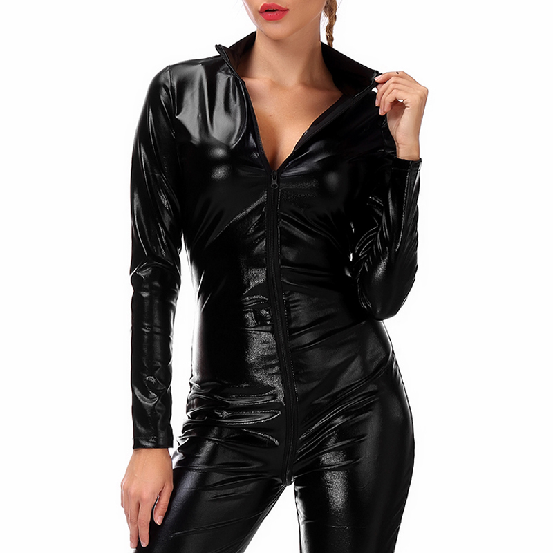 DODOING 2019 Patent Leather Zipper Open Crotch Latex   Jumpsuit   Black Tight Sexy Women Erotic Costumes Acrylic Bodysuit Clubwear