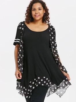Wipalo Plus Size Polka Dot Flyaway T-Shirt Scoop Neck Handkerchief Hem Tunic Tee 2018 Summer Women Casual Tops Big Size 5XL polka dot