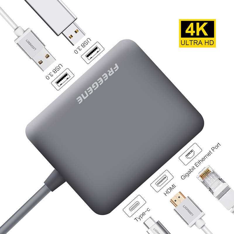 Freegene USB 3.0 HUB USB C HUB to HDMI RJ45 PD Adapter for MacBook Pro Samsung Galaxy S9/S8 Huawei P20 Pro Type-C Hub Space Gray usb type c pd wall charger fast charging power adapter for new macbook pro dell 9350 acer r13 samsung asus hp