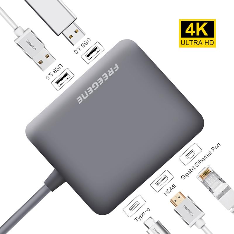Freegene USB 3.0 HUB USB C HUB to HDMI RJ45 PD Adapter for MacBook Pro Samsung Galaxy S9/S8 Huawei P20 Pro Type-C Hub Space Gray mo миши momax type c конвертер hdmi usb c поддержка расширения адаптер apple macbook huawei подключенный телевизор проектор серебряный mate10