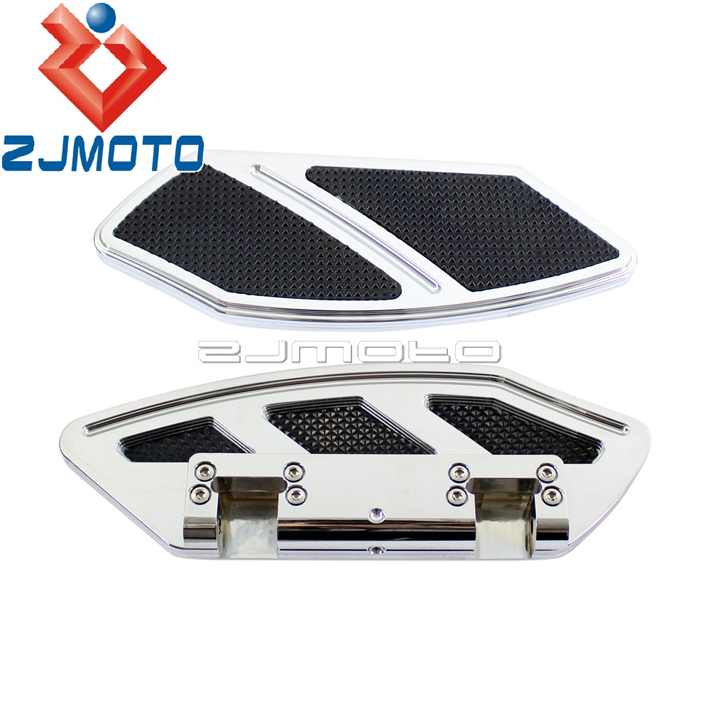 Motorcycle Rear Passenger Footboard Floorboard For Harley Touring Road King Softail 1984-2015 Chrome Floor Board Foot Board