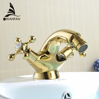 Bidet Faucets Europe Style Gold Bidet Faucet Bathroom Dual Handle Single Hole Bathroom Gold Mixer Taps Hot And Cold Tap WF-7313K