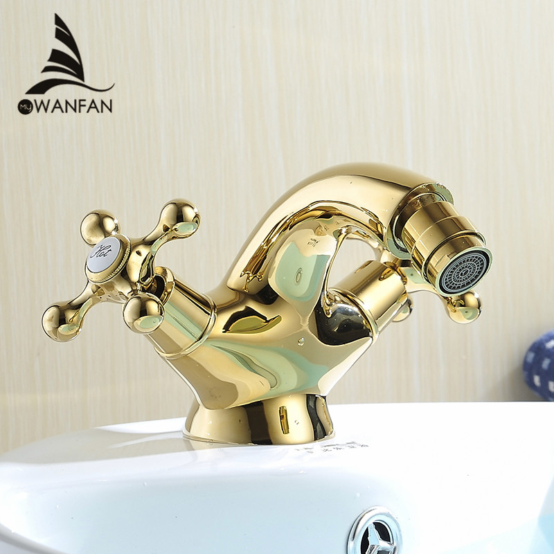 Europe Style Gold Bidet Faucet Bathroom Dual Handle Bathroom Gold Bidet Faucet Mixer Hot And Cold Tap Free Shipping AL-7313K high pressure toilet bidet faucet cold and hot water tap polish chrome bidet mixer ducha higienica