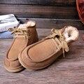 UVWP Nueva Moda de Alta Calidad de Los Hombres de Nieve Botas de Invierno Cálido botas Los Hombres Zapatos de Invierno 100% de Piel de Lana Natural Del Tobillo Transpirable zapatos