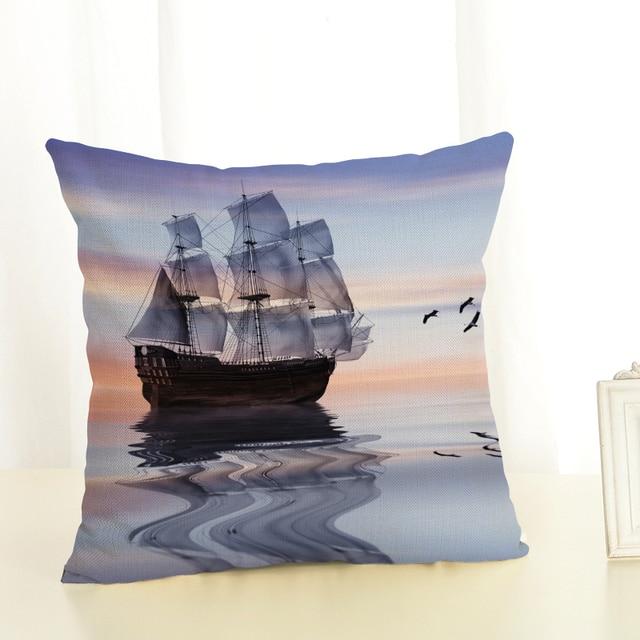 Big ship Sofa Cushion Case Home Decor 45Cmx45Cm linen Square Sofa Bed Car print Pillow Cover Linen cushion cover 3